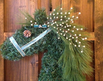 Sale - Christmas Horse Head Wreath with Blue and Silver Halter and Silver Berries / Horse Garland Wreath