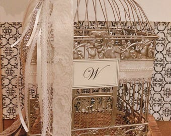 Large Champagne Gold Ivory and Pearls Wedding Birdcage Card Holder / Wedding Card Box / Custom Wedding Card Box / Pearl Wedding Decor / Lace