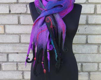 "Ocean"", large and soft wet felted purple/black scarf with beads and curls, one-of-a-kind unique felt art-to-wear garment"