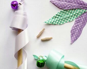 Fake Feather - Purple & White Polka Dot Feather Decor || Washi Feather