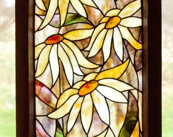 Gothic Daisy Stained Glass Pattern. .© David Kennedy Designs.