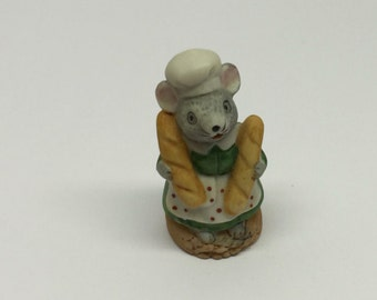 Russ Figurine Baker Lil' Mouse Town Porcelain Miniature Occupation Mice