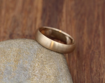 Wide Yellow Gold Band 4.5x 1.4mm, Matte Finish , Comfort Fit - Smooth Band - Engraveable Band - Half Round Gold Band - Hand Made