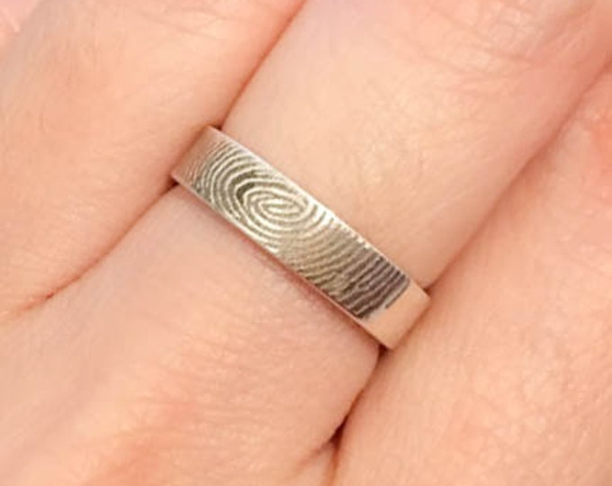 Fingerprint Ring, Engraved Ring, Engraved Jewelry, Custom Ring, Fingerprint Jewelry, Personalized Ring, Mens Ring, Wedding Band,Promise Ring