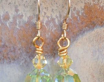 Swarovski Chrysolite & Jonquil Crystal Earrings