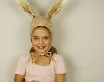 Rabbit Ears felted Hat in beige - Handmade wool bunny hat - Rabbit ears hat - Bunny costume hat - Costume party fancy ball Carnival hat