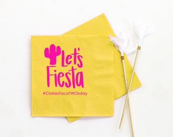 Fiesta Birthday Party Napkins Taco Party Decorations Personalized Napkins Mexican Party Supplies Lets Fiesta Cocktail Napkins Girl Birthday