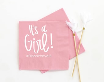 Personalized Napkins Girl Baby Shower Decorations Custom Napkins for Baby Shower Party Supplies Printed Beverage Napkins Girl Shower Ideas