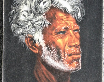 Velvet Painting Tahitian Chief by Edgar Leeteg Signed Framed Artwork