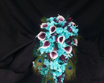 Aqua, teal, turquoise cascading bouquet with picasso calla lilies, teal, plum purple, hydrangea bouquet, teardrop bouquet, cascading bouquet