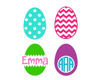 Easter Eggs SVG, Easter Svg, Easter Monogram Svg, Easter Split Monogram Svg, Silhouette Cut Files, Cricut Cut Files, Svg Files