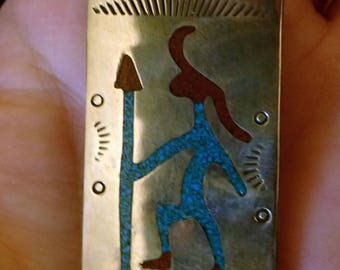 Native American made Money Clip . sterling with inlay turquoise and pipestone. Petroglyph Warrior