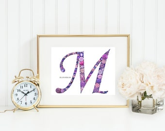 Nursery Initials | Baby Monogram | Wedding Monograms | Nursery Wall Art | Button Monogram | Button Letter | Button Monogram | Baby Girl Gift