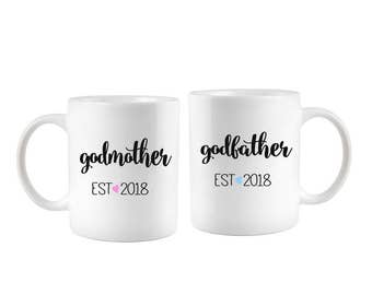 Godparents Gifts, Godparent Coffee Mug set, Godmother and Godfather gift from goddaughter, Baptism gift for the god parents, Christening