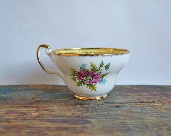 Vintage EB Foley Teacup with Flowers and Gold Trim - Orphan Cup without saucer