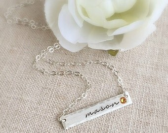 Personalized Bar Necklace . Bar Necklace . Birthstone Necklace . Gold Bar . Personalized Jewelry . Personalized Necklace .gift for mom
