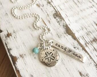 Beach Necklace . Beach Jewelry . Sand Dollar Necklace . Sand & Sea . Personalized . Handmade Jewelry . Engraved Jewelry . Custom Jewelry