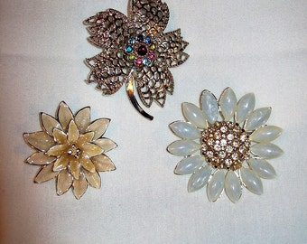 Vintage Flower Brooch Pins Silver & Gold All 3 Only 5.40 USD