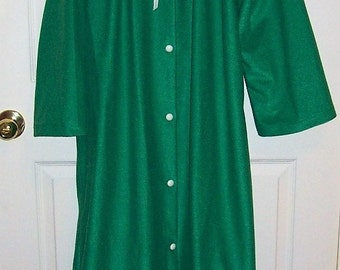 Vintage Ladies Green Flannel Full Length Maxi Robe by Carole Medium Only 10 USD