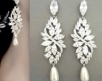 Pearl earrings, Swarovski pearl earrings, Cubic zirconia pearl earrings, Long, Marquise cut earrings,Brides earrings,Wedding earrings, LILLY
