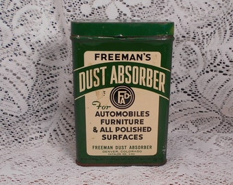 Vintage Freeman's Dust Absorber Tin with Contents Excellent Condition