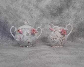 Cute Little Vintage Creamer and Sugar with White Hobnail Design and Pink Rosess