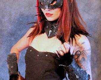 Cat Witch mask collar & armguards black/bronze