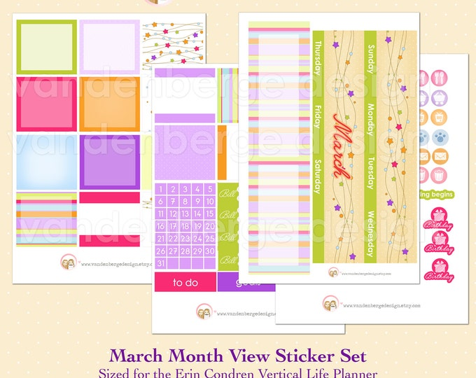 March Month View Kit for Erin Condren Life Planner or The MAMBI Happy Planners