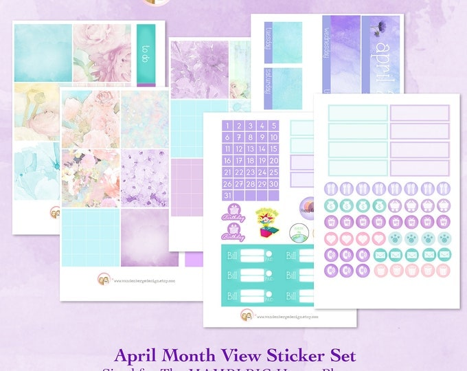 BIG Happy Planner April Month View Kit - sized to fit the MAMBI Big Happy Planner