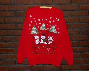 Vintage 90s Polar Bears Glitter Puffy Paint Christmas Sweatshirt Men's M / Women's Oversize