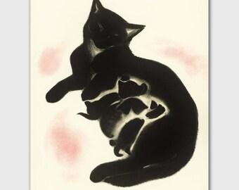 """Cat Art Print, Wall Decor (Vintage Illustration Drawing, Cat Mom) --- """"Sheba's Kittens"""""""