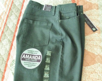Amanda Jeans, Gloria Vanderbilt, Ultra Stretch, 14 Petite Short, Smoky Quartz, Heritage Fit, Tapered Leg, Classic Rise, Slimming Effect