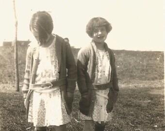 "Vintage Snapshot ""Junior Flappers"" Young Girls Children Flapper Dress Bob Hairstyle  Found Vernacular Photo Belted Cardigans Sidewalk Scene"