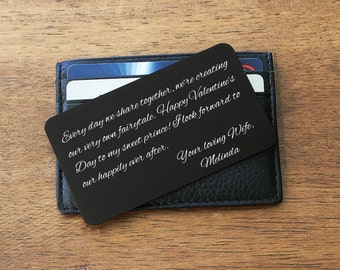 Metal Wallet Insert, Custom Wallet Card, Engraved Wallet Card, Valentines gift for Husband, Anniversary gift, Gift for Groom, Message Card