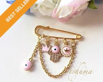 Baby Evil Eye Pin Stroller Pin Newborn Baby Girl Gift Baby Shower Gift Hamsa Pink Gold Pin