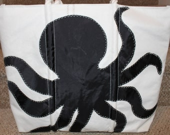 Recycled black octopus sail bag