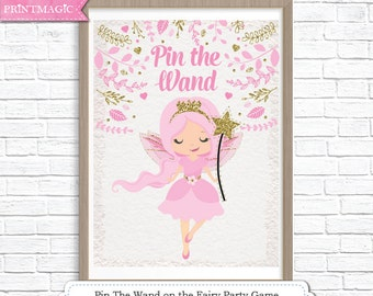 Pin the Wand on the Fairy Printable Party Game - 3 Poster Sizes - Fairy Birthday Party Game - Fairy Princess Party Game - Instant Download