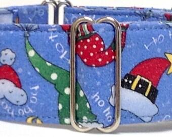 Christmas Greyhound, Whippet, Sighthound Martingale Collar or Buckle Dog Collar