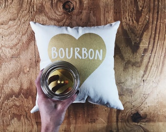 Bourbon pillow - Home Decor / Throw Pillow, Whiskey, Gift for her, Gift for him