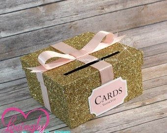 Card Box Glitter Gold, Blush Pink & White Gift Money Box for Any Event | Baby Shower | Wedding | Bridal Shower | Birthday Party | Graduation