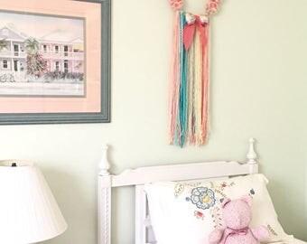 Dream Catcher - Pom Pom - Nursery - Baby Girl - Nursery Wall Hanging - Girl Room Decor - Yarn Art - Tapestry Dreamcatcher
