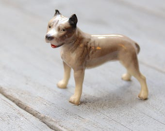 Miniature Pit Bull Terrier Figurine, Ceramic Dog Sculpture, Retired Hagen Renaker, Hard to Find, Staffordshire Bull Terrier