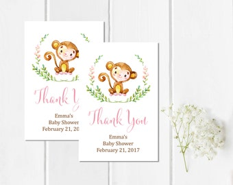 Pink Monkey Baby Girl Shower Favor Tags, Printable Personalized Monkey Tags, Custom Shower Favor Labels, Thank You Favor, Download 306-P