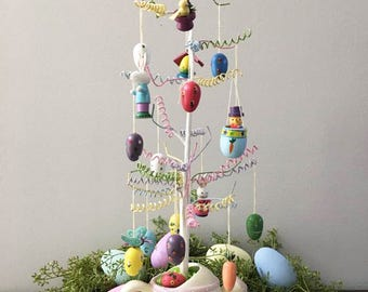 Vintage Easter Tree with Wooden Ornaments / Boxed Set