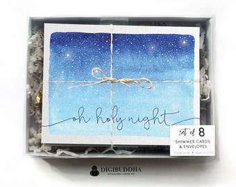 BOXED CHRISTMAS CARD Set Holiday Cards Greeting Card Oh Holy Night Card Set Boxed Holiday Shimmer Christmas Card Silver Envelopes - Britton