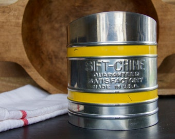 """Vintage Metal """"SIFT-CHINE"""" Sifter with Yellow Bands 