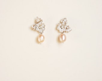 Floral pink pearl earrings, bride blush accessories, flower and leaf with pendant - style 715