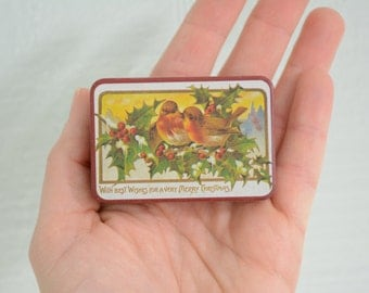 "Victorian Style Tiny Christmas Tin - Birds ""With Best Wishes For a Merry Christmas"""