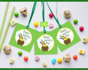 St. Patrick's Day Favor Tags - Pot of Gold Favor Tag - Kawaii St. Patrick's Gift Tags - Digital and Printed Available