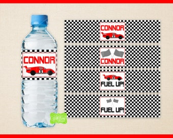 Race Car Water Bottle Labels -  Race Car Water Bottle Wraps - Racing Bottle Labels- Race Car Party Decor - Emailed & Shipped